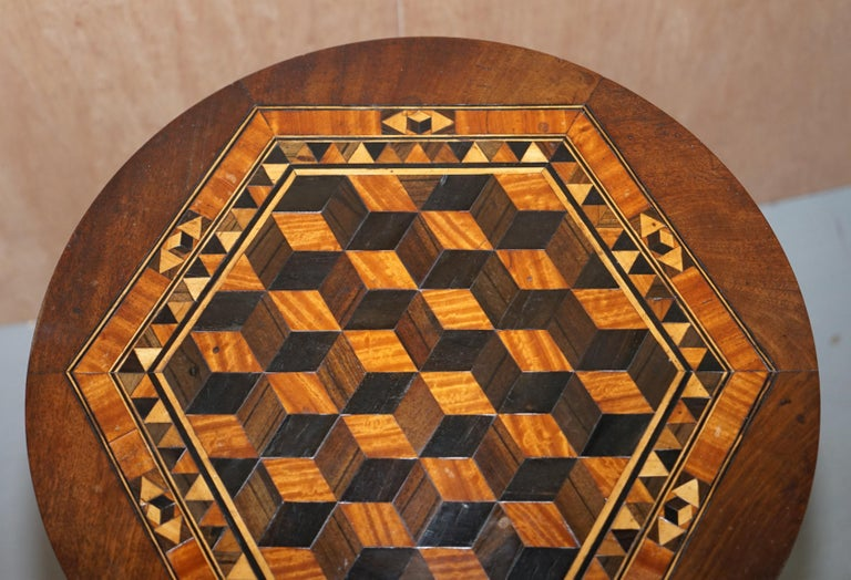 English Rare Victorian Mahogany Occasional Table, Geometric Parquetry Inlaid Wood Top For Sale