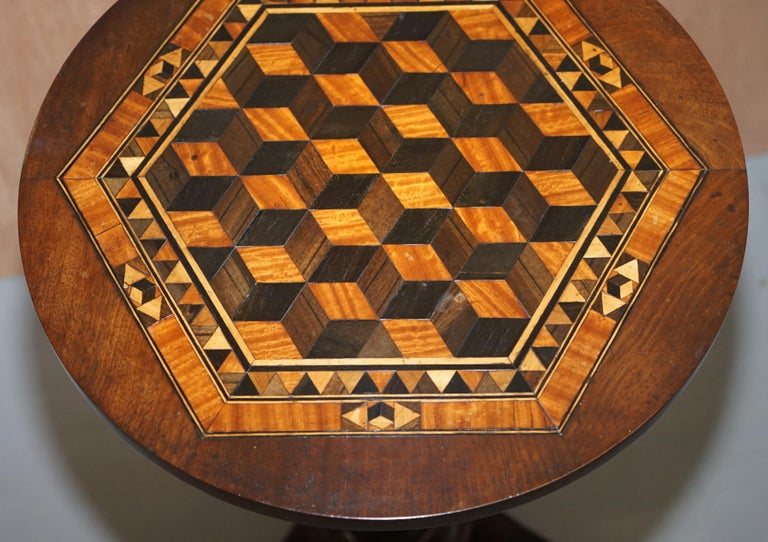 Inlay Rare Victorian Mahogany Occasional Table, Geometric Parquetry Inlaid Wood Top For Sale