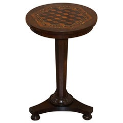 Rare Victorian Mahogany Occasional Table, Geometric Parquetry Inlaid Wood Top