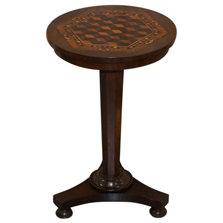 Rare Victorian Mahogany Occasional Table, Geometric Parquetry Inlaid Wood Top For Sale