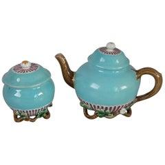 Rare Victorian Minton Majolica Teapot And Sugar Pot