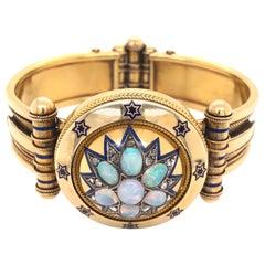 Rare Victorian Opal Diamond Enamel Gold Cuff Bangle Bracelet Estate Fine Jewelry