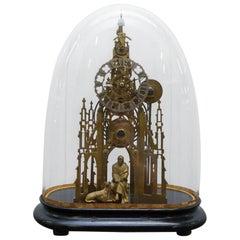 Rare Victorian Single Fusee Mantle Clock Sir Walter Scott & His Dog Maida Statue
