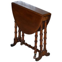 Rare Victorian Small Salesman Sample Famboo Gatele Folding Table Side Table Size