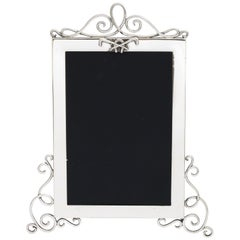 Rare Victorian Sterling Silver Footed Picture Frame With Equestrian Motif
