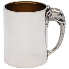Rare Victorian Sterling Silver Mug/Cup with Elephant-Form Handle by Gorham