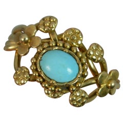 Rare Victorian Turquoise Puzzle Ring in 18 Carat Gold
