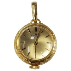 Rare Vintage 14 Karat Yellow Gold Bucherer 17 Jewel Swiss Pendant Watch Fob
