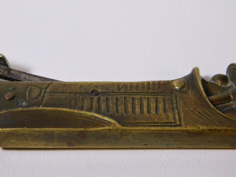 Rare Vintage 1920s French Bronze Cigar Cutter Racing Car For Sale 7