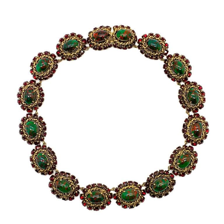 Rare Vintage 1964 Christian Dior by Bohan 3 Piece Ruby Paste & Art Glass Parure For Sale 8