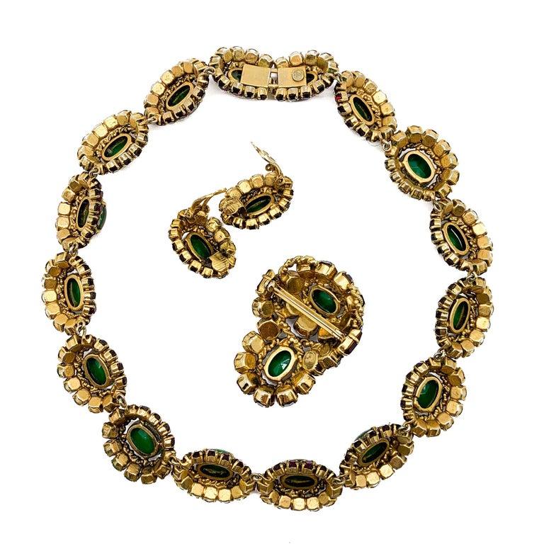 Rare Vintage 1964 Christian Dior by Bohan 3 Piece Ruby Paste & Art Glass Parure For Sale 9