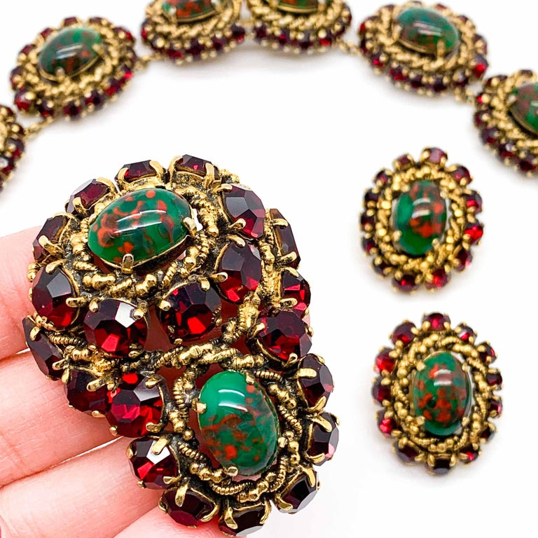 Rare Vintage 1964 Christian Dior by Bohan 3 Piece Ruby Paste & Art Glass Parure In Good Condition For Sale In Wilmslow, GB