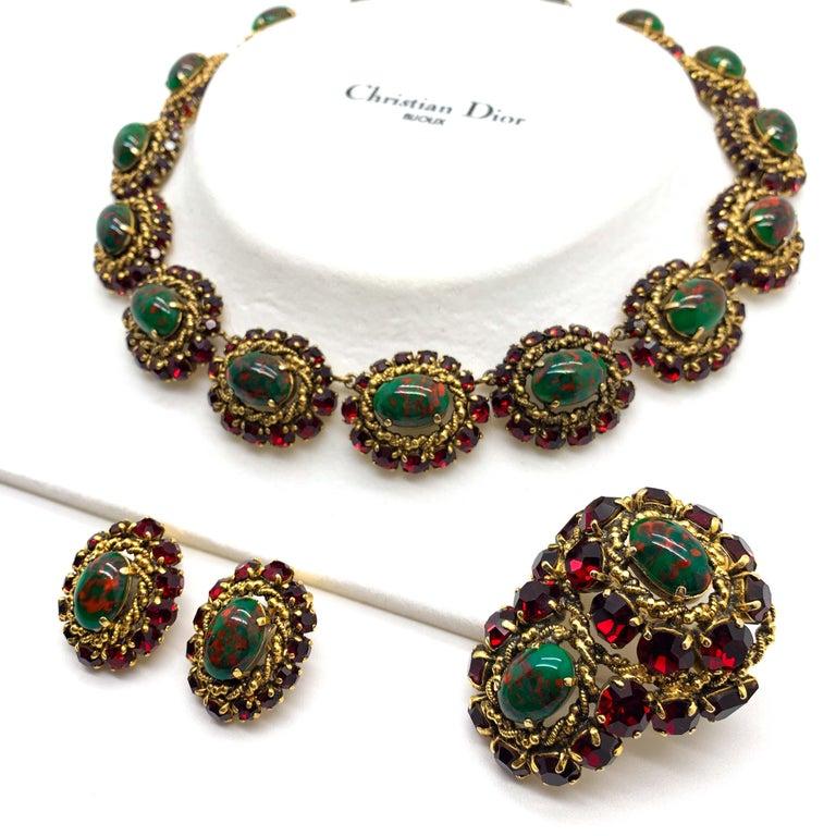 Women's Rare Vintage 1964 Christian Dior by Bohan 3 Piece Ruby Paste & Art Glass Parure For Sale