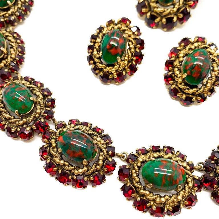 Rare Vintage 1964 Christian Dior by Bohan 3 Piece Ruby Paste & Art Glass Parure For Sale 1