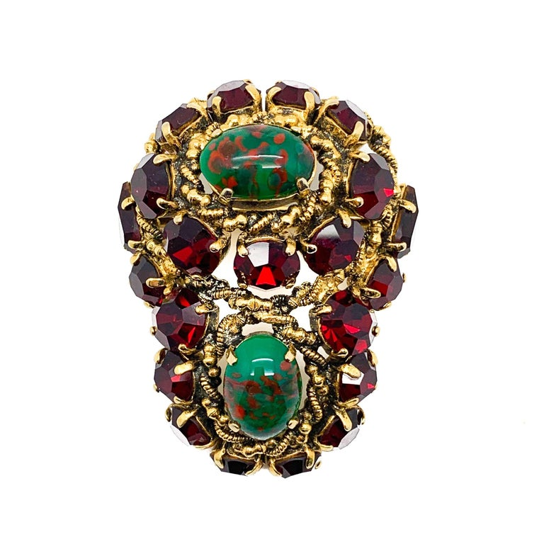 Rare Vintage 1964 Christian Dior by Bohan 3 Piece Ruby Paste & Art Glass Parure For Sale 5