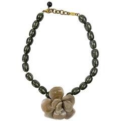 Rare Vintage 1970 Chanel Molten Glass Camelia Necklace
