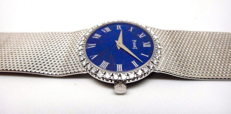 Vintage Lapis Roman Numeral Dial 18 Karat Gold Diamond Bracelet Watch In Good Condition In New york, NY