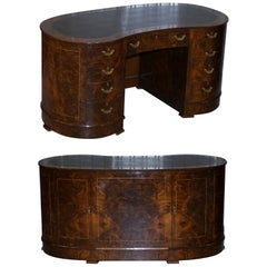 Rare Vintage Burr & Burl Walnut Kidney Desk with Cupboards Bookcases to the Back