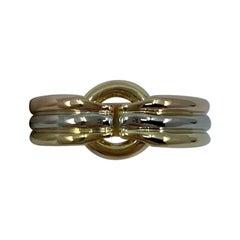 Rare Vintage Bvlgari Circle 18 Karat Yellow, Rose, White Gold Tricolor Band Ring