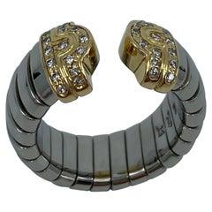 Rare Vintage Bvlgari Diamond Parentesi Tubogas 18 Karat Gold & Steel Spring Ring
