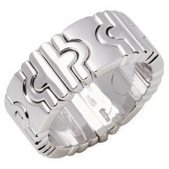 Rare Vintage Bvlgari Parentesi 18 Karat White Gold Spring Ring