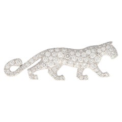 Rare Vintage Cartier Diamond Panther Pin Brooch in 18k White Gold