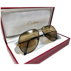 4c02e572d816d Rare Vintage Cartier Santos Screws Leather Edition 59mm 18K Sunglasses  France