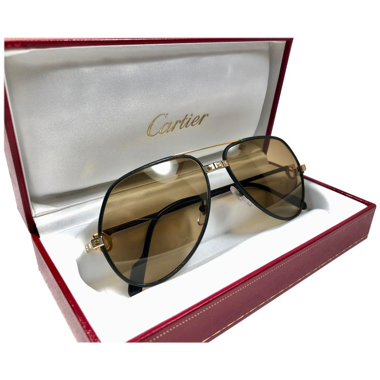 1c079f2b50a2 Rare Vintage Cartier Santos Screws Leather Edition 59mm 18K Sunglasses  France For Sale