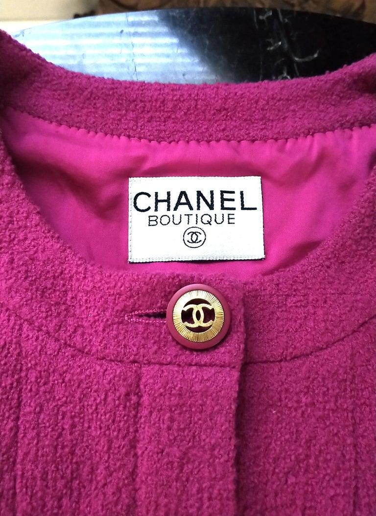 Rare Vintage Chanel 1980's CC Pink Violet Tweed Jacket Skirt Suit FR 40/ US 6 8 For Sale 6