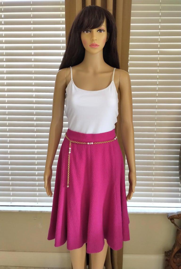 Rare Vintage Chanel 1980's CC Pink Violet Tweed Jacket Skirt Suit FR 40/ US 6 8 For Sale 8