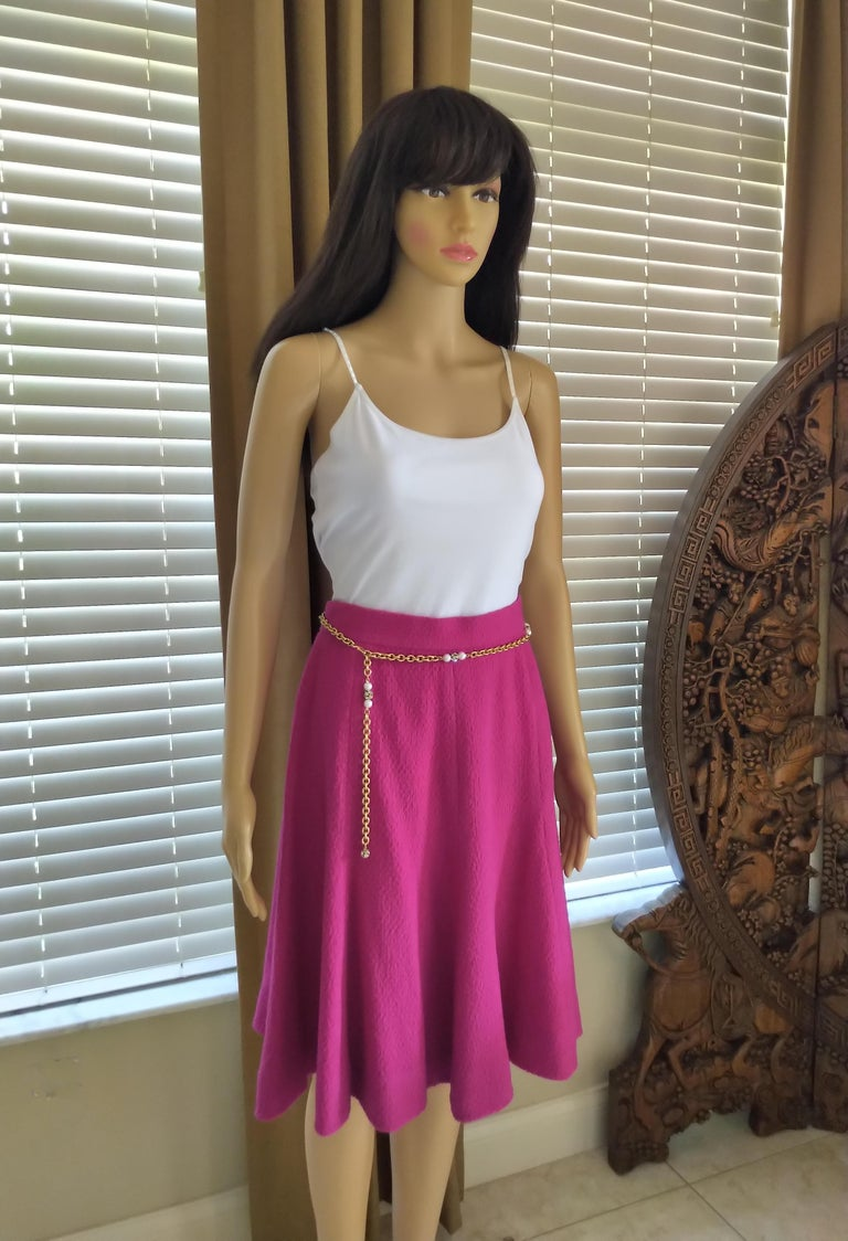 Rare Vintage Chanel 1980's CC Pink Violet Tweed Jacket Skirt Suit FR 40/ US 6 8 For Sale 9