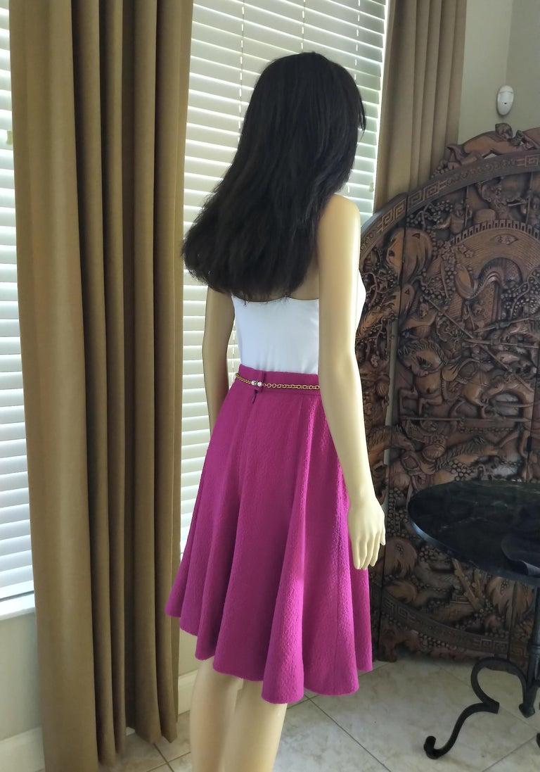 Rare Vintage Chanel 1980's CC Pink Violet Tweed Jacket Skirt Suit FR 40/ US 6 8 For Sale 10