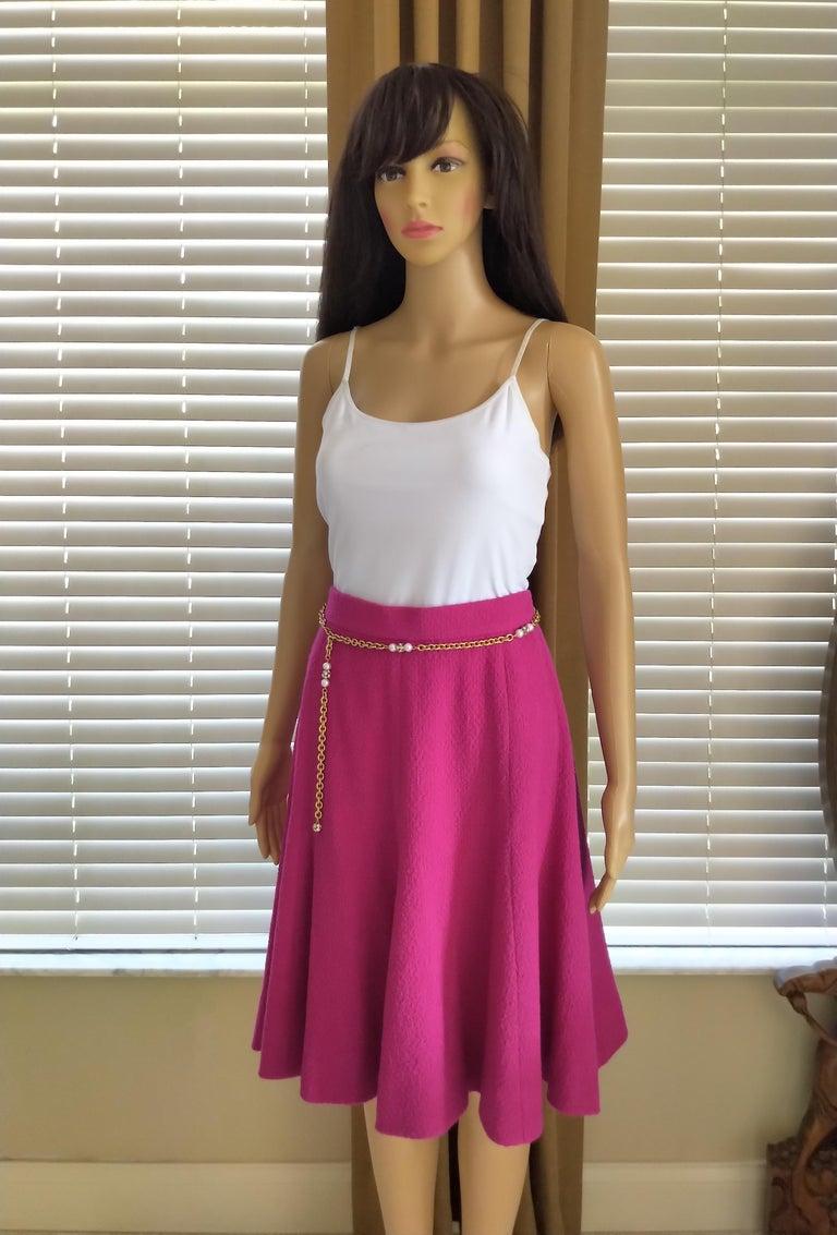 Rare Vintage Chanel 1980's CC Pink Violet Tweed Jacket Skirt Suit FR 40/ US 6 8 For Sale 11