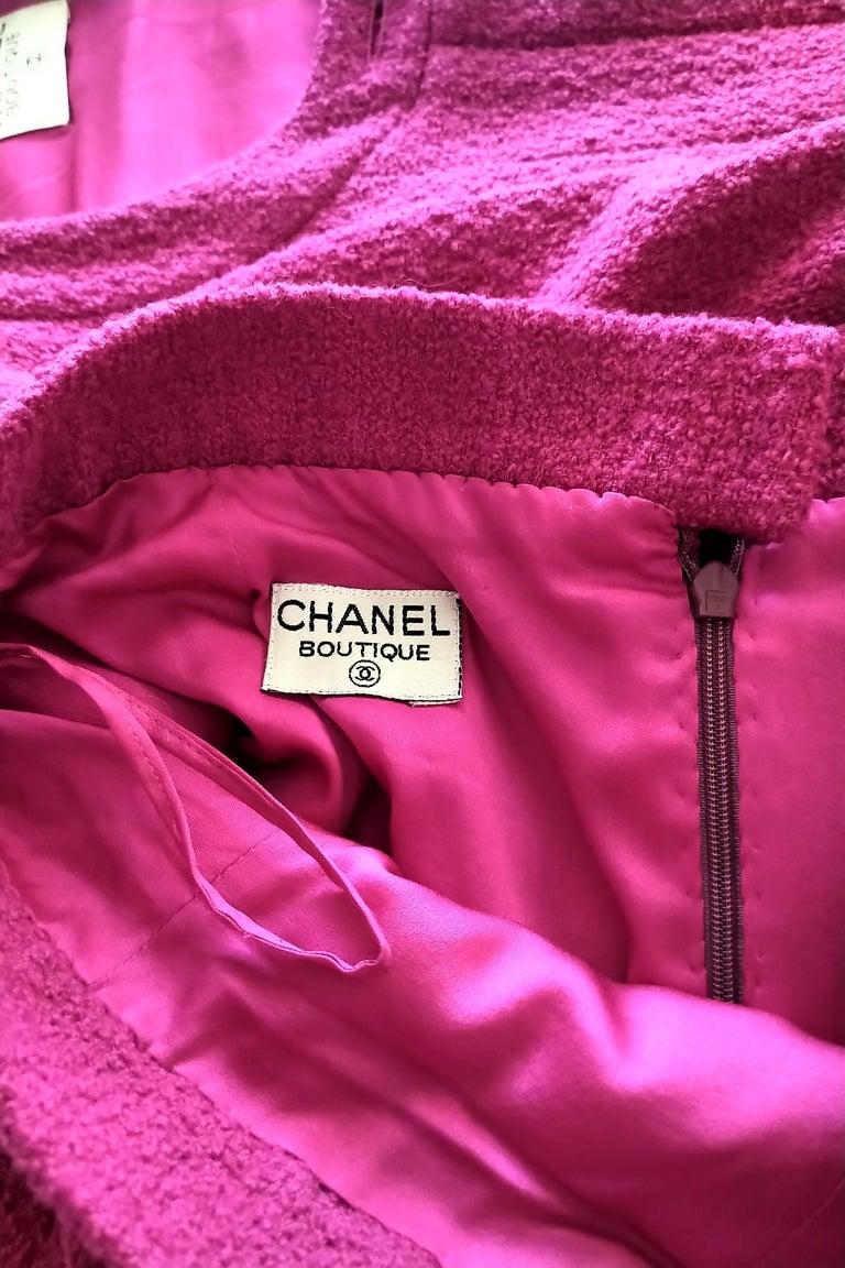 Rare Vintage Chanel 1980's CC Pink Violet Tweed Jacket Skirt Suit FR 40/ US 6 8 For Sale 12