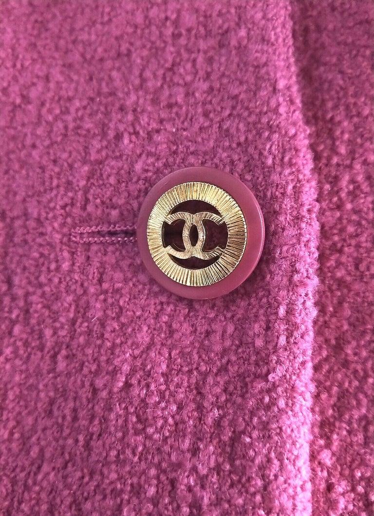 Purple Rare Vintage Chanel 1980's CC Pink Violet Tweed Jacket Skirt Suit FR 40/ US 6 8 For Sale