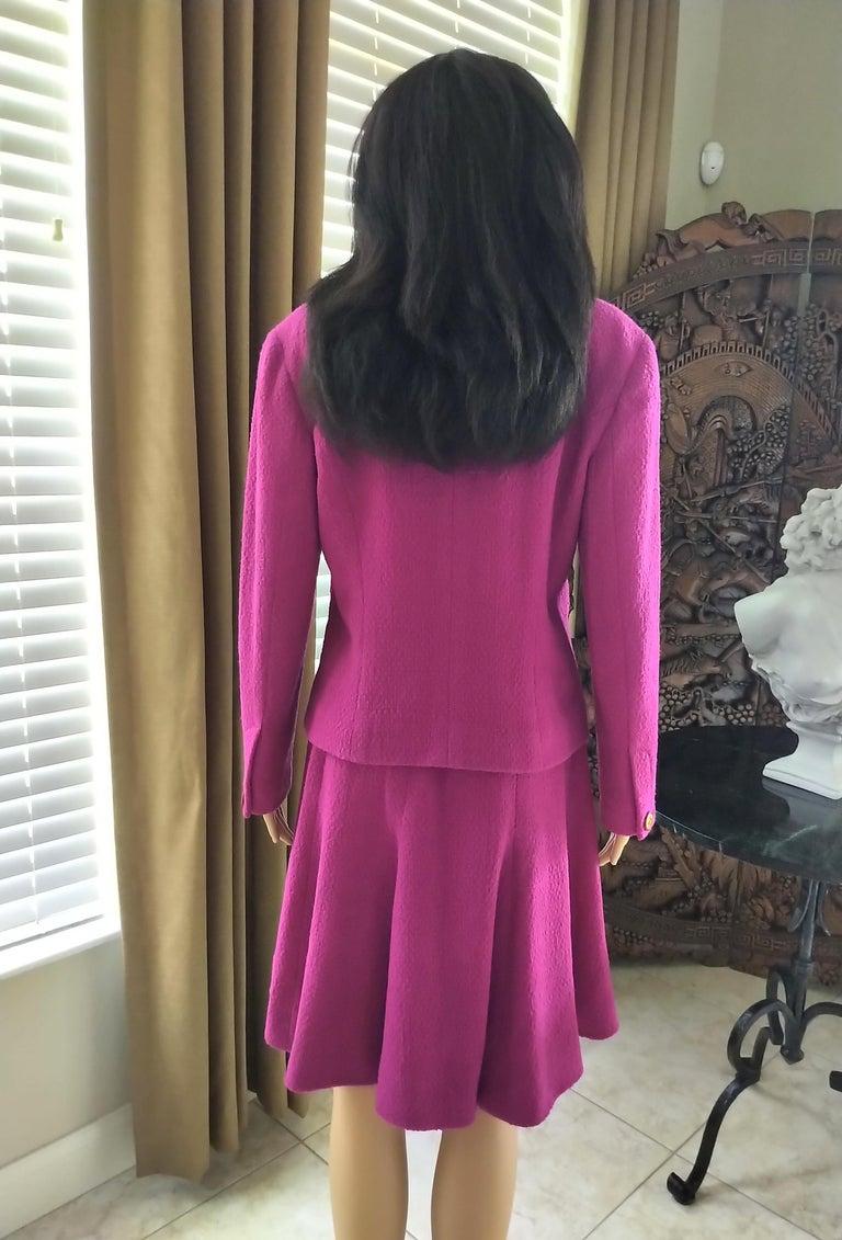 Rare Vintage Chanel 1980's CC Pink Violet Tweed Jacket Skirt Suit FR 40/ US 6 8 For Sale 4