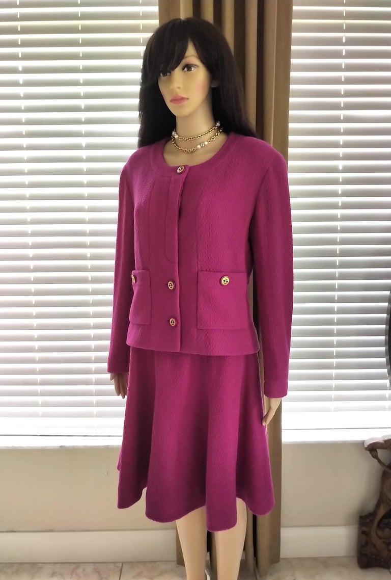Rare Vintage Chanel 1980's CC Pink Violet Tweed Jacket Skirt Suit FR 40/ US 6 8 For Sale 5