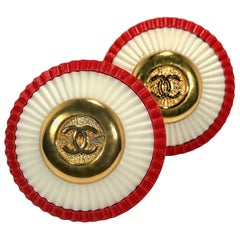 Rare Vintage Chanel 1980s Red, White, & Gold Tone CC Earrings 1.5 Inch Diameter