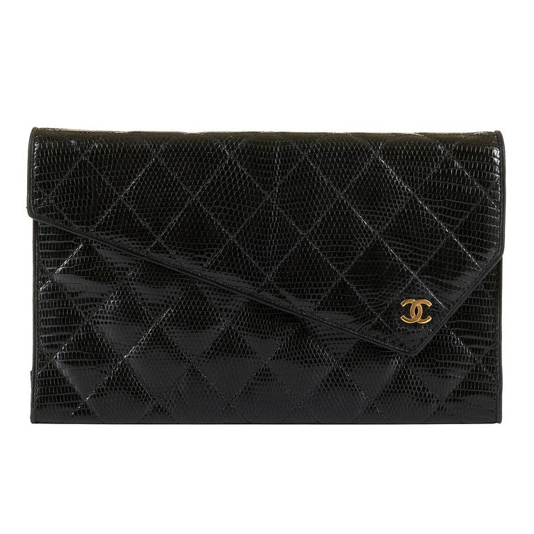 Rare Vintage Chanel Black Lizard Evening Bag by Karl Lagerfeld In Excellent Condition For Sale In London, GB