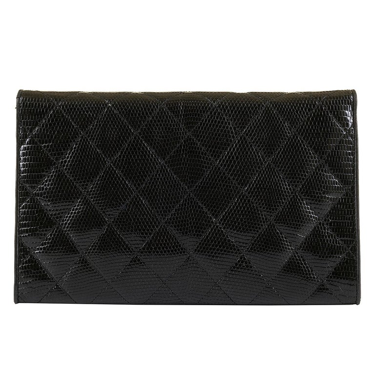 Women's Rare Vintage Chanel Black Lizard Evening Bag by Karl Lagerfeld For Sale
