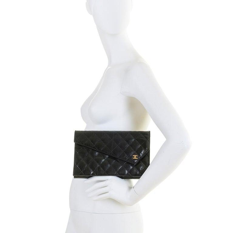 Rare Vintage Chanel Black Lizard Evening Bag by Karl Lagerfeld For Sale 3