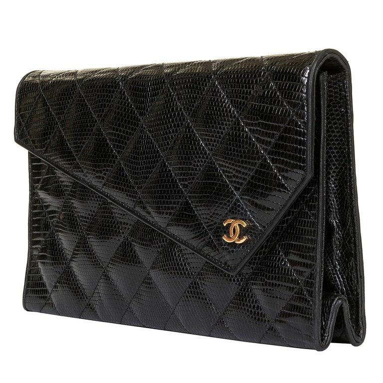Rare Vintage Chanel Black Lizard Evening Bag by Karl Lagerfeld For Sale