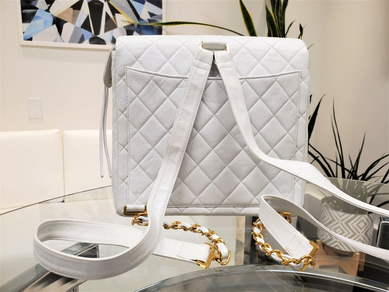Rare Vintage Chanel CC Quilted White Lambskin Leather Classic Flap Backpack For Sale 1