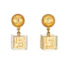 Rare Vintage Chanel No. 5 Cube Earrings 1997 Gold CC Lucite Dangle Drops
