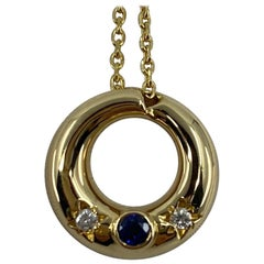 Rare Vintage Chaumet Anneau 18k Yellow Gold Sapphire & Diamond Pendant Necklace
