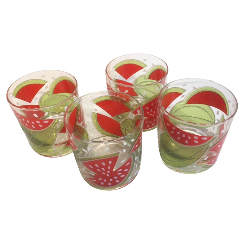 Rare Vintage Culver Rocks Glasses with Watermelon Design in Translucent Enamels
