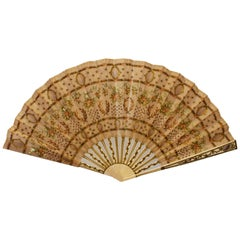 Rare Vintage Fan Decorated Linen with ivory and gold sticks