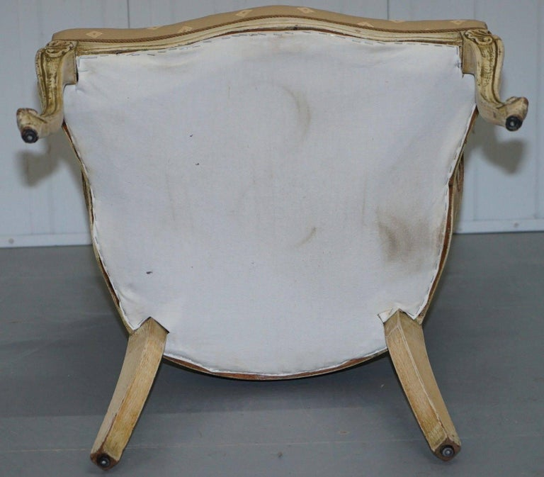 Rare Vintage French Late 19th Century Occasional Armchair Shabby Chic Style For Sale 4
