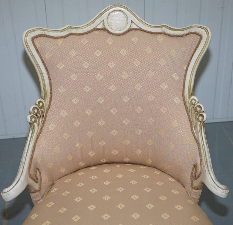 Hand-Crafted Rare Vintage French Late 19th Century Occasional Armchair Shabby Chic Style For Sale