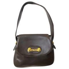 Rare Vintage Gucci 1970s Brown Leather Enamel Tiger Gold Chain Handbag Purse Bag